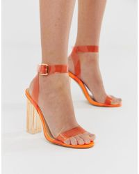 a6c0af4fb71 Lyst - Public Desire Vivid Neon Yellow Ankle Tie Heeled Sandals in ...