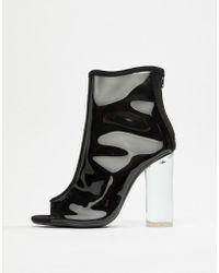 Public Desire - Woke Smoke Clear Detail Heeled Ankle Boots - Lyst