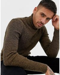 ASOS Muscle Fit Ribbed Roll Neck Jumper - Brown