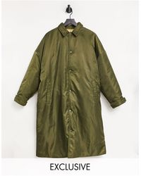 Collusion Unisex Longline Oversized Reversible Puffer Jacket - Green