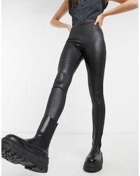 TOPSHOP Crocodile Effect Leather Look leggings - Brown
