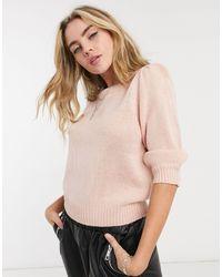 ONLY – Pullover mit Puffärmeln - Pink