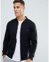 French Connection Baseball Zip Through Logo Jacket - Black