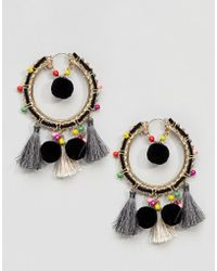ASOS - Colorful Bead And Pom Tassel Hoop Earrings - Lyst