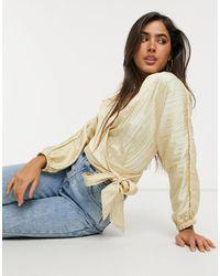 Vero Moda Кремовая Фактурная Блузка На Запахе -белый - Естественный