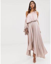 ASOS Blouson One Shoulder Dress - Pink