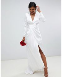 ASOS Pleated Plunge Wrap Wedding Dress In Satin - White
