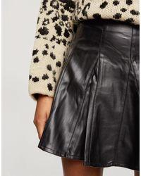 Miss Selfridge Pu Skater Skirt - Black