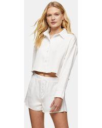 TOPSHOP Shirt And Short Pyjama Set - White