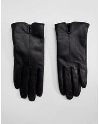Accessorize Черные Кожаные Перчатки -черный