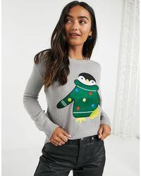 Brave Soul Maglia natalizia con pinguino - Grigio
