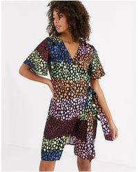 Never Fully Dressed Wrap Mini Dress - Multicolour