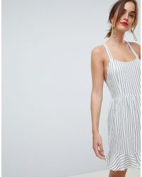 Mango - Stripe Cross Back Linen Cami Dress In Multi - Lyst