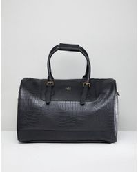 ASOS Carryall In Black Croc Effect Faux Leather