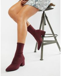 Vagabond Mya Stretch Sock Boot In Wine - Red