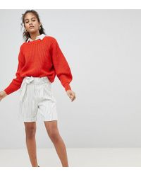 Y.A.S - Striped High Waisted Shorts - Lyst