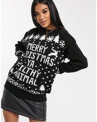 Boohoo Christmas Jumper With Slogan - Black