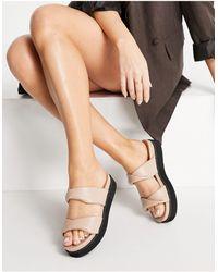 SIMMI Shoes Simmi – London Hemera – Pantoletten mit flacher Plateausohle - Natur