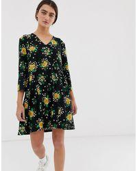 Monki Prairie Flower Print Jersey Smock Dress - Black