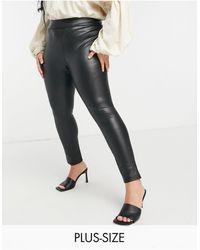 Simply Be Legging imitation cuir à taille haute - Noir