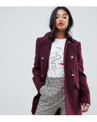 Miss Selfridge Swing Coat In Burgundy - Red
