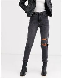 TOPSHOP Mom Jeans With Rips - Black