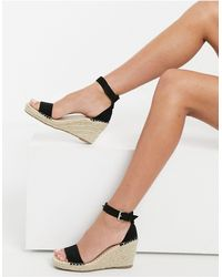 Truffle Collection Espadrille Wedges - Black