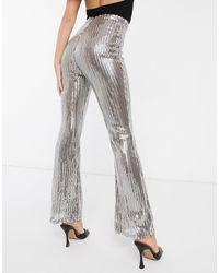 Club L London Sequin Flare Leg Trousers - Metallic