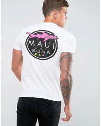 Maui & Sons Maui Shark Logo Print T-shirt - White