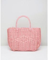 Bershka - Basket Weave Shopper In Pink - Lyst