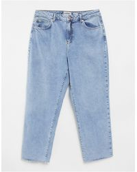 New Look Fray Hem Straight Leg Jean - Blue