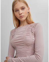 Bershka Top With Ruched Front - Pink