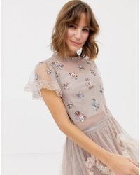 Needle & Thread Embellished Crop Top In Rose - Pink