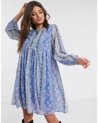 Y.A.S Smock Dress - Blue