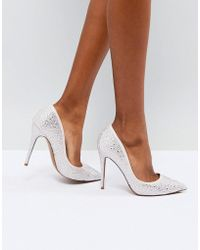6c9943793596 Lyst - ASOS Poppin Pointed Bow High Heels in Metallic
