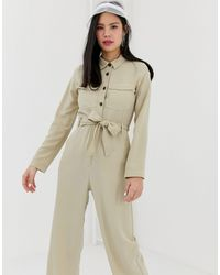Monki Utility Boilersuit With Oversized Pockets - Natural