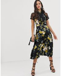 Liquorish Платье Миди С Кружевной Отделкой И Цветочным Принтом -мульти - Черный