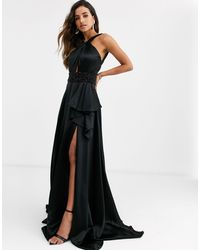Jovani Halterneck Dress With Thigh Split - Black