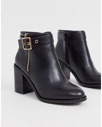 7586fc5c298 Buckle Detail Block Heel Boots - Black