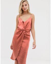 Vila Wrap Front Cami Midi Dress - Pink