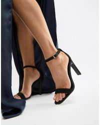 Glamorous - Black Barely There Heeled Sandals - Lyst