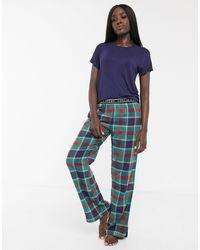Chelsea Peers Pyjama Met Schotse Ruit - Blauw