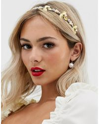 ASOS Occasion Headband With Gold Leaf And Pearls - Metallic