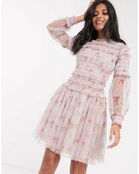 Needle & Thread Robe courte ornée - Rose