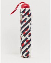 Lulu Guinness Parapluie fin à fines rayures en diagonale motif bouche - Multicolore