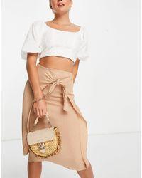 ASOS Wrap Midi Skirt - Natural