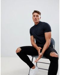 Replay - Logo Short Sleeve Polo In Black - Lyst