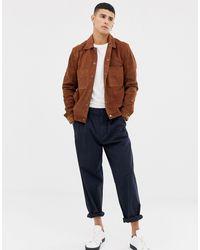 SELECTED Nubuck Leather Jacket - Brown