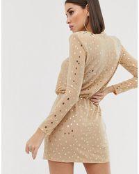 Flounce London Sequin Mini Dress With Shoulder Pads - Metallic