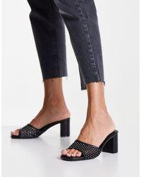 New Look Черные Сетчатые Мюли С Декоративной Отделкой На Блочном Каблуке -черный Цвет